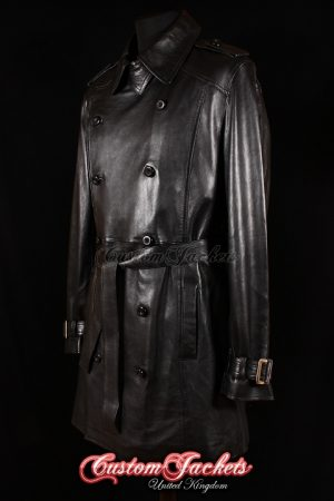 Men's BADLAND Black Lambskin Real Leather Double Breasted Knee Length Classic Trench Coat Jacket