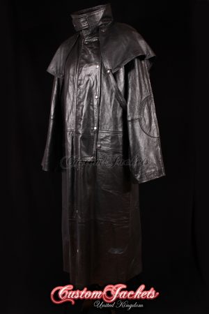 Men's FRONTIER DUSTER Black Cowhide Leather Riding Long Trench Over Coat Jacket