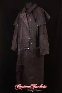 Men's FRONTIER DUSTER Brown Waxed Cowhide Real Leather Riding Trench Over Coat Jacket