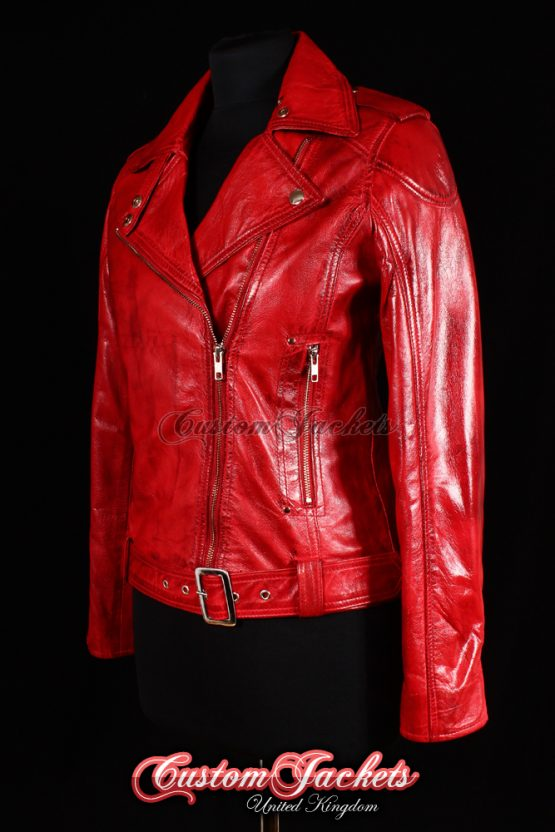 Ladies ESCAPE Red Washed Zip Biker Designer Fitted Real Lambskin Leather Jacket